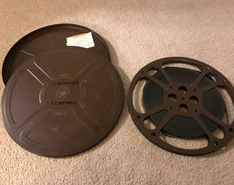 Vintage Metal Movie Reel With Tin and Movie