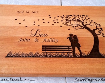Wedding Personalized Cutting Board,Wedding Gift,Engraved Cutting Board,Custom Cutting Board,Couple Wedding Gift,Anniversary Gift,Engraving