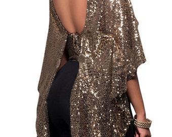 Sleeveless Backless Black & Gold Blouse