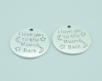 20pcs 25mm Antique Silver I Love You To The Moon And Back Charm Pendants,Moon Charm Pendants,Letters Charms Pendants ZC8322