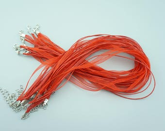 50pcs 16-18 Inches Red Ribbon Necklace Cords Chains For DIY Jewelry S013