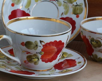 Vintage Russian porcelain large Tea Set for two persons, Red, Orange ,1970s , from USSR