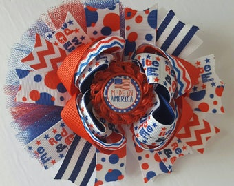 Made in America hairbow, red white and blue hairbow, American proud, fourth of July hairbow, 4th of july, stacked hairbow, OTT