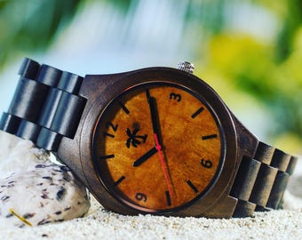 DOMINICA SERIES - Wood Watch, Wooden Watch, Present, Gift, Wood Watches, Wooden Watches, Men's Watch, Luxury Watch, Island Life