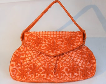 Vintage 1960's Coral Orange Floral Beaded Evening Bag