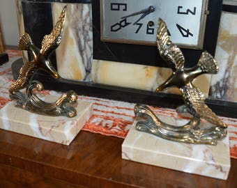 French Art Deco Spelter birds x 2 on marble base
