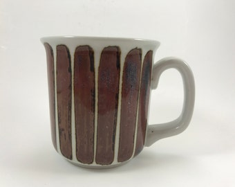 Vintage Lauffer Coffee Mug Cup Stoneware Brown Veritcal Stripe Handcrafted Japan price for 1 each (5 available)