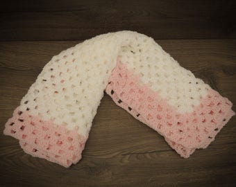 LF Sparkley White and Pink Crocheted Baby Blanket