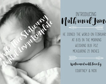 Birth Announcement - B&W Photo - Arrows