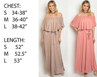 JED FASHION Women's Off Shoulder Ruffled Maxi Dress with Self Tie Waist