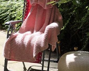 large soft knit Plaid rug old rose Alpaca angora mohair