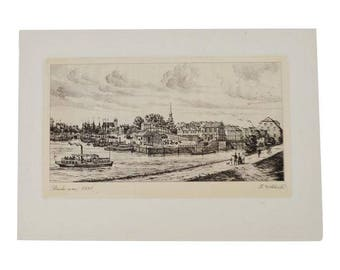Vintage Stade Germany Village Scene Print by H. Wehlisch