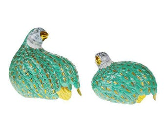 Pair of Vintage Chinese Export Porcelain Partridge Figurines