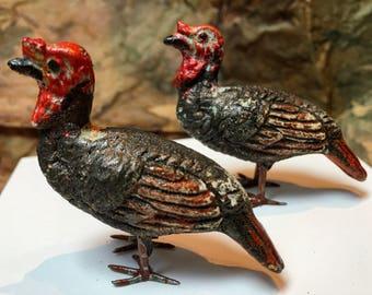 SOLD! Vintage Pair Composition Turkey Hens, Christmas Putz Village, 1920-1930