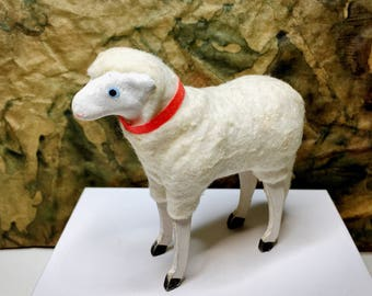 Vintage Composition Wooly Sheep, German Christmas, Easter Putz