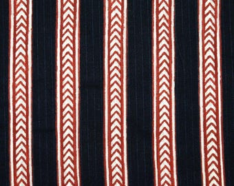 Black, Red and Cream Kalamkari Arrorw Symmetrical Pattern Cotton Kalamkari Fabric