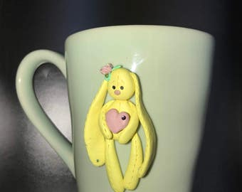Green cup with Polymer clay bunny