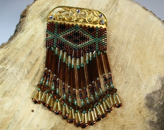 Southwest Handcrafted Beaded and Fringe Brooch