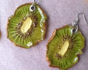 Real Kiwi Slice Earrings