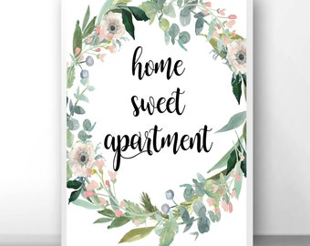 Home sweet apartment, new apartment gift, first apartment gift, floral apartment gift, new apartment decor, apartment decorating, apartment