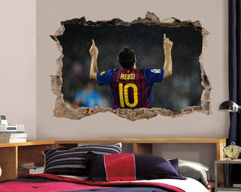 Leo Messi Barca Smashed Wall Decal Wall Sticker Art Mural Barcelona FCB H874