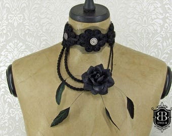 Necklace Choker collar Gothic Rose black