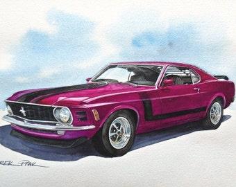 Original watercolour painting classic car Ford Mustang Boss 302 1970