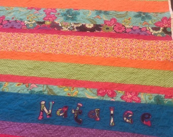 Personalized Strip Quilt. Made to order.