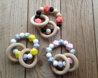 Bpa free silicon teether/ Teether rattle/ Sensory toy/ baby gift