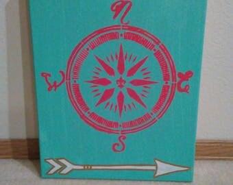 Tribal design,compass canvas art work