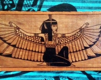 ISIS goddess Egyptian painted by hand on wooden reused. Handpainted on Recycle wood. single article
