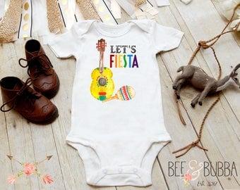 Lets Fiesta Onesie®, Guitar & Maraca, Cute Baby Clothes, Boy Baby Shower Gift, Funny Onesie, Baby Bodysuit, Hipster Baby, BeeAndBubba