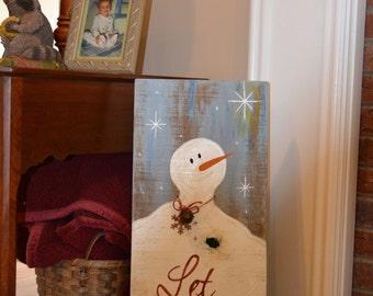 Snowman Wooden sign