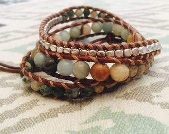 Glass bead leather wrap bracelet