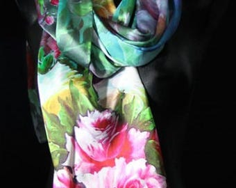 Green Floral 100% Charmeuse Silk
