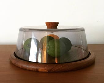 Danish teak & acrylic cheese dome