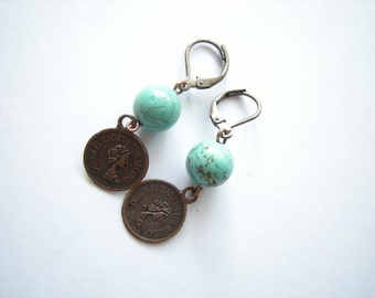 Antique Copper Earring with Queen Elizabeth Charm and Turquoise Bead