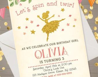 Ballerina Invitation Retro Ballerina Birthday Invitation Ballerina Invite Dance Party Invitation Pink and Gold Glitter Ballerina Invitation