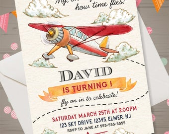 Airplane Invitation Retro Airplane Birthday Invitation Airplane Invite Time Flies Invitation First Birthday Invitation Boys Birthday Party