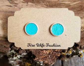 Turquoise genuine leather earring studs, nickel free, round