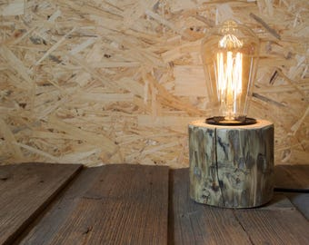 Edison Bulb Table Lamp with Round Wooden Base