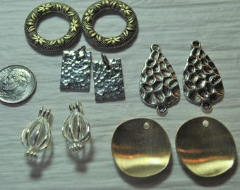 Earring dangles, silver tone, findings, destash, brass