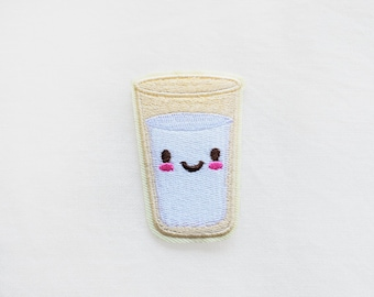 1x Glass of Milk  smiley PATCH  Iron On Embroidered Applique sweet yummy cute beverage drink custom diy fun project