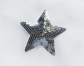 1x sequins silver glitter purple shiny star patch love burlesque Iron On Embroidered Applique