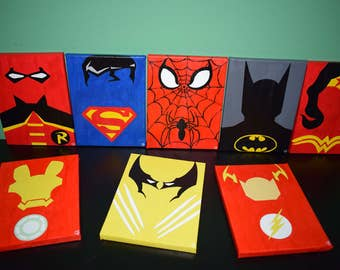 8 Marvel / DC of Super Heroes comic on canvas 8 x 18 x 24 cm
