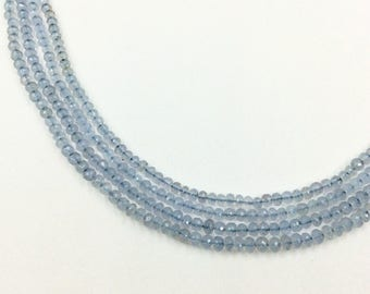 """Blue Chalcediny Faceted Roundel Beads 16""""  (Multiple sizes)"""