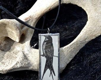 Vintage Bird Glass Pendant Necklace