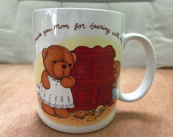 Vintage Avon Coffee Mug/Cup with Saying--Thank you Mom for bearing with me.