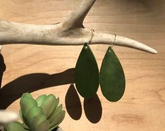 Khaki green leather teardrop earrings