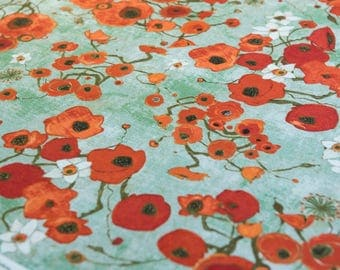 Gallery Fiori by Karen Tusinksi Red Poppies on Teal- Half Meter